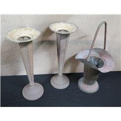 "Qty 2 Tapered Metal Vases (16""H) & Metal Basket (18"")"
