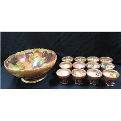 Qty 12 Haviland Stemmed Floral Glasses & Limoges France Punch Bowl