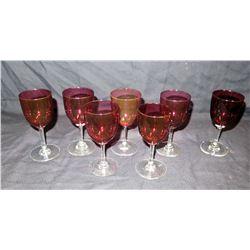 Qty 7 Burgundy Stemmed Beverage Glasses