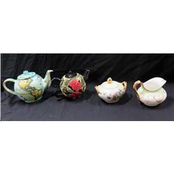 Qty 2 Themed Teapots (1 Floral & 1 Globe), J.P.L. France Creamer & Sugar Bowl