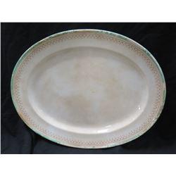 Large Vintage Oval Serving Platter w/ Border Design 17x22 (shows some wear, discolaration)