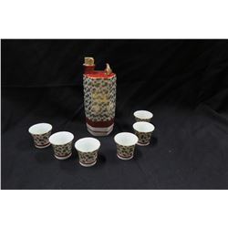 Ceramic Sake Decanter w/ 6 Matching Cups, Bears Maker's Mark (1 cup chipped)