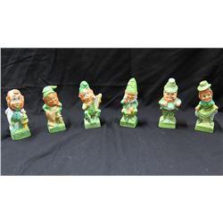 Qty 6 Ceramic Irish Elf Figurines