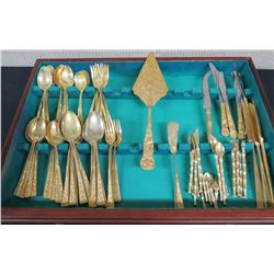 Misc. Gold Tone Flatware and Serving Utensils (Italy) in Wooden Box