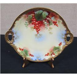 "Round 'J.P.L. Limoges' Serving Plate w/ Handles & Fruit Design, Approx. 12"""