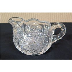 "Cut Glass Creamer w/ Handle & Pinwheel Design, Approx. 3"" H"