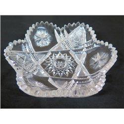 Cut Glass Candy Dish w/ Star Design