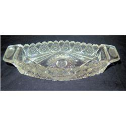 "Cut Glass Bowl w/ Handles, Approx. 8"" Long"
