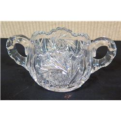 Cut Glass Sugar Bowl w/ 2 Handles & Pinwheel Design