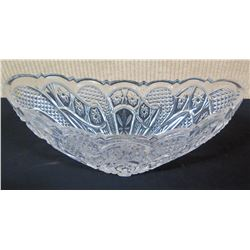 "Cut Glass Bowl w/ Scalloped Edges & Star Design, 12"" Dia, 4"" H"