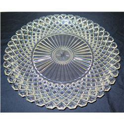 "Round Cut Glass Bowl w/ Starburst Design, Approx. 14"" Dia"
