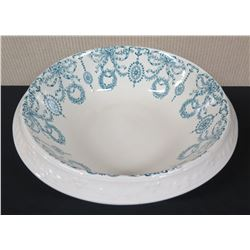 """White & Blue Bowl, Gloria Pattern, Approx. 15"""" Dia - Dudson, Wilcox & Till, Made in England"""