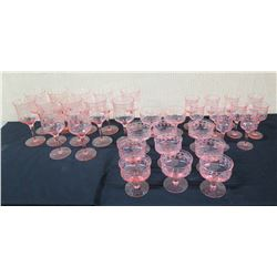 Multiple Pink Etched Glass Stemware, Approx. 33