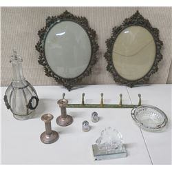 Misc Collectible Glass & Metal - Oval Frames, Decanter, Candle Holders, Wall-Mount Hooks, etc