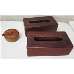 Qty 2 Wooden Tissue Boxes & Round Wood Sugar Bowl w/ Lid & Spoon