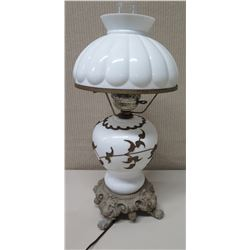 """Vintage Ceramic White Lamp w/ Overlaid Leaves Accent & Ceramic Shade, Approx. 22"""" H"""
