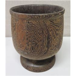 """Footed Wooden Vessel, Approx. 7"""" Dia, 8.5"""" Tall"""