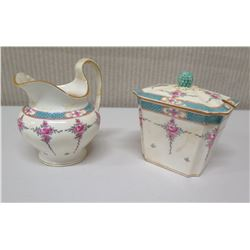 Sugar Bowl w/ Lid & Matching Pitcher - Minton House England, Numbered (shows signs of wear)