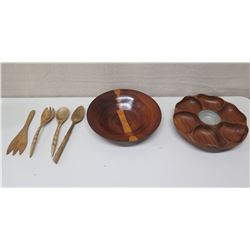 Round Wood Bowl & 6-Section Serving Tray & 4 Wooden Utensils