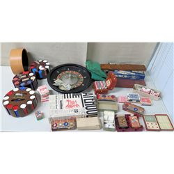 Game Lot - Trivia Aloha, Poker Chips, Roulette Wheel, Playing Cards, etc