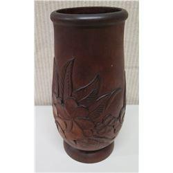 """Tall 10"""" Carved Milo Wood Vase, Plumeria Motif, Marked """"Milo, Honolulu"""""""