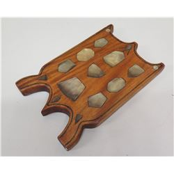 """Wooden Wall Plaque w/ Inlaid Shell Accents """"Aitutaki Cook Island"""", Approx. 11.5"""" Long"""
