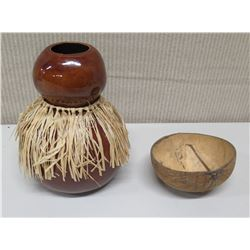 Brown Ipu w/ Grass Skirt (Signed) & Coconut Bowl
