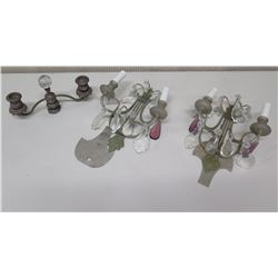Pair of  Candle Sconces with Teardrop Ornamentation and 1 Candelabra
