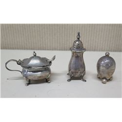 Salt & Pepper Shakers & Sugar Bowl w/ Spoon, Maker's Marks