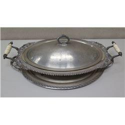 Serving Set - Platter w/ Handles, Oval Serving Tray w/ Lid & Glass Insert (WM Rogers & Son)