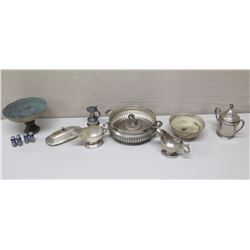 Metal Bowls, Gravy Boats, Butter Dish, Sugar Bowl, etc