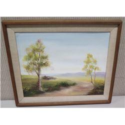 "Framed Original Art on Canvas 17.5x15, Signed by Artist Perrett '74 ""Country Road Albury, Australia"""