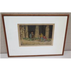 "Framed Art - ""Fruit Sellers, Madura, India"", Signed Charles W. Bartlett 21""x15.5"""