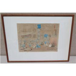 "Framed Art - ""Amritsar 1916"", Signed Charles W. Bartlett (partially-faded signature) 20.5 x 15.5"