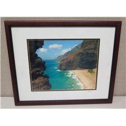 "Framed Photographic Image - ""Na Pali Coast"" 21.5x18, Artist Signed Nathan Yuen"