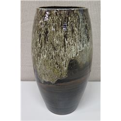"""Tall Glazed Pottery, Brown & White w/ Maker's Mark,  18"""" Tall"""
