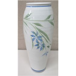 "Ceramic White Vase w/ Blue Floral Design 'Tropical Clay Hawaii' 4"" Dia, 14.5"" Tall"