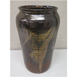 """Glazed Brown & Yellow Pottery w/ Maker's Mark, 18"""" Tall"""