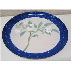 """Large 18"""" Ceramic Blue Floral Plate Wall Hanging by """"Morris '84"""""""