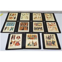 Qty 11 Hardmats of Ancient Culture - Rome,  Italy, Egypt, Aegean, etc, 9x9, Felt Backing