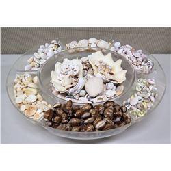 "Large Glass 7-Section Bowl w/ Various Seashells, 18"" Dia"