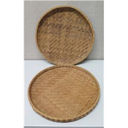 """Qty 2 Large Woven Round Trays, 23"""" Dia."""