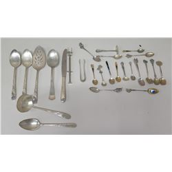 Qty 20 Souvenir Spoons, Serving Utensils (Tongs, Serving Spoons, Bread Knife, etc)