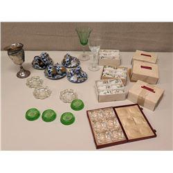Wood Box w/ 6 Mini Glass Trays, Porcelain Napkin Rings, Stemmed Metal Vessel, etc