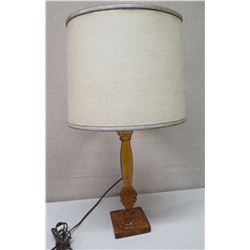 """Vintage Glass Table Lamp w/ Shade, 28"""" Tall"""