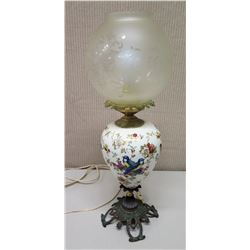 """Vintage White Floral Ceramic Lamp on Metal Base w/ Glass Shade, 21.5"""" Tall"""