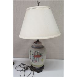 """Porcelain Oriental Ginger Jar Lamp w/ Wooden Base & Shade, Approx. 29"""" Tall"""
