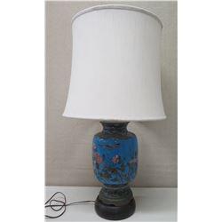 Blue Oriental Design Porcelain Lamp w/ Round Base & White Shade
