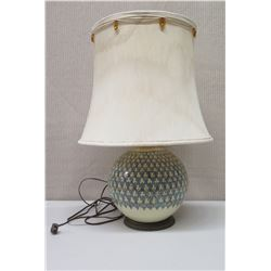 """Round Ball Lamp with Blue/White Geometric Design, Approx. 24"""" Tall"""
