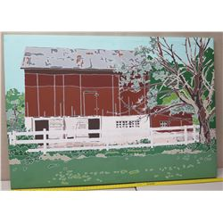 Very Large Painting on Canvas 66 x 47 - Red House w/ White Fence